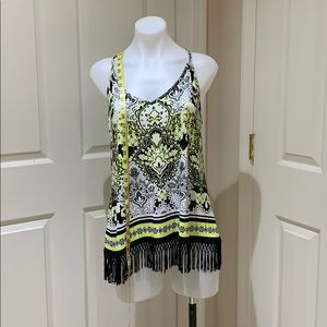 I-N-C tank top with fringe hemline